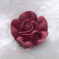 "1"" Royal Icing Rose - Medium - Burgundy (20 per box)"