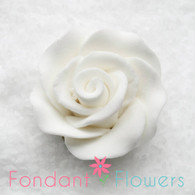 """1-1/8 """" Rose w/calyx -  Petite -  White (Sold Individually)"""