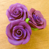 "1-1/8 "" Rose w/calyx -  Petite -  Purple  (set of 12)"