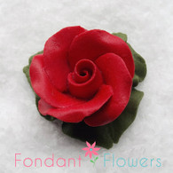 "1"" Rose w/ Icing Leaves -  Red (10 per box)"