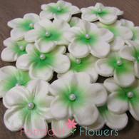 "1.5"" Charming Blossom - White w/ Green (10 per box)"