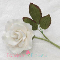 "1.5"" Rose on Stem w/ Leaves - Medium - White"