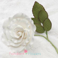"3"" Rose on Stem w/ Leaves - Large - White"