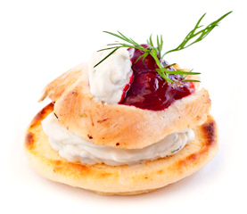 Roasted Turkey Breast, cream cheese, cranberry sauce & fresh chives