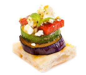 Grilled Vegetable Stack, Turkish Bread, Basil Pesto & Rocket leaves
