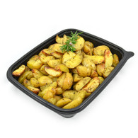 Roasted chat potatoes with confit garlic, rosemary & Maldon sea salts