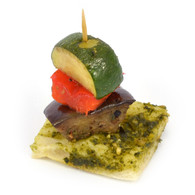 Grilled vegetable stack, Turkish bread, basil pesto (20)