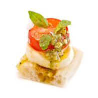 Vine Ripened tomato & Bocconcini, Basil Pesto on Turkish Bread