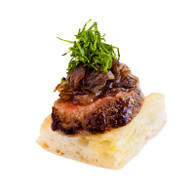 Rare Seared Beef Fillet atop a Turkish Bread square (20)