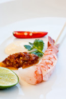 Poached King Prawns on Skewers with Sauce Romesco & Lime (20)