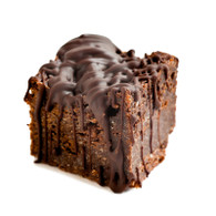 Gluten Free Belgium Dark Chocolate & Almond Brownie, chocolate drizzle