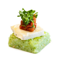 Basil Pesto Risotto Cake, Tasmanian Brie, Dried Tomato Salsa & Rocket Leaves (20)