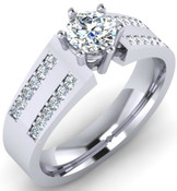 Twin Row Brilliant Cut 6 Claw Engagement Ring