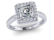 Princess Cut Halo Engagement Ring Diamond Set Sholders