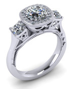 Brilliant Cut Detailed Millgrain Engagement Ring