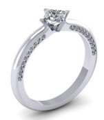 Princess Cut Engagement Ring With Side Stones Detailing