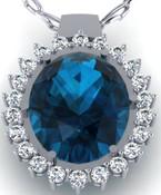 Sapphire Oval Cluster Diamond Pendant