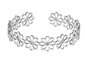 Sterling Silver Daisy Filigree Torque Bangle
