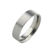 Titanium 6mm Flat Top Court Ring with Flat Sides