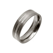 Titanium 6mm Flat Court Ring with Two Different Finishes Equally Divided Across The Ring