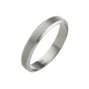 Titanium 4mm Ring with Textured Centre and Polished Bevelled Edges