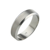 Titanium 6mm Ring with Textured Centre and Polished Bevelled Edges
