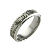 Titanium 6mm Black Patterned Ring Wood Grain Look