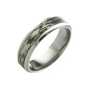 Titanium 6mm Black Patterned Ring Wood Grain Look