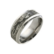 Titanium 6mm Black Patterned Ring Wood Grain