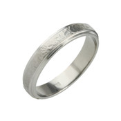 Titanium 4mm Sandstone Ring with Dropped Edges