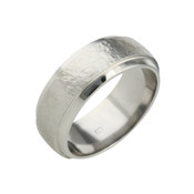 Titanium 8mm Sandstone Ring with Dropped Edges