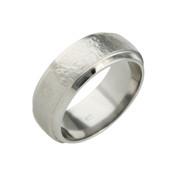 Titanium 8mm Sandstone Ring with Dropped Edges