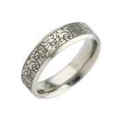 Titanium 6mm Flat Court Patterned Ring with Black Detail