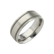 Titanium 8mm Low Court Ring with Black Patterned Lines
