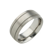 Titanium 8mm Low Court Ring with Black Patterned Dotted Lines
