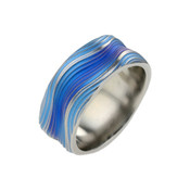 Titanium 10mm Ring with Blue Wavy Pattern