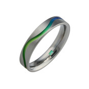 Titanium 4mm Flat Court Ring with Green Wavy Line