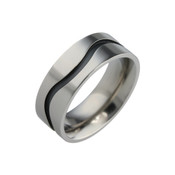 Titanium 8mm Flat Court Ring with Black Wavy Line