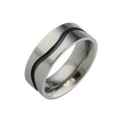 Titanium 8mm Flat Court Ring with Black Wavy Line