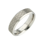 Titanium 6mm Flat Court Patterned Ring with Black Three Side Detail
