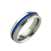 Titanium 6mm Ring with Centre Blue Design