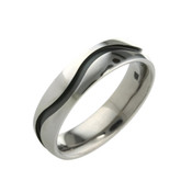 Titanium 6mm Court Ring with Black Wavy Line