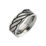 Titanium 8mm Design with Black Pattern