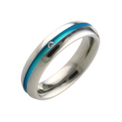 Titanium 5mm Ring with Centre Blue Pattern