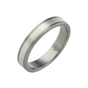 Titanium 4mm Flat Two Colour Ring -Titanium & Palladium