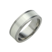 Titanium 8mm Flat Two Colour Rings - Titanium & Silver