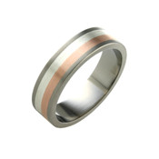 Titanium 6mm Ring with Silver and 9ct Rose Gold