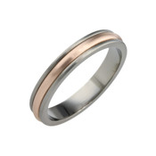Titanium and 9ct Rose Gold 4mm Ring
