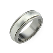 Titanium and Silver 8mm Ring