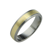 Titanium and 18ct Yellow 6mm Ring